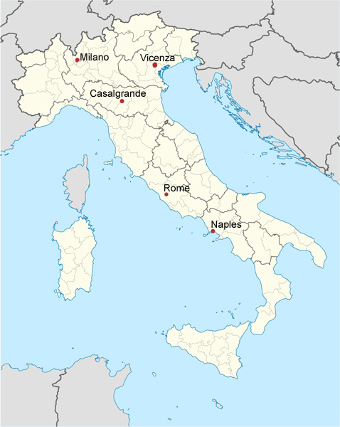 Map of Queer Tango in Italy 2014
