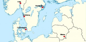 Map of Scandinavia and the Baltic countries