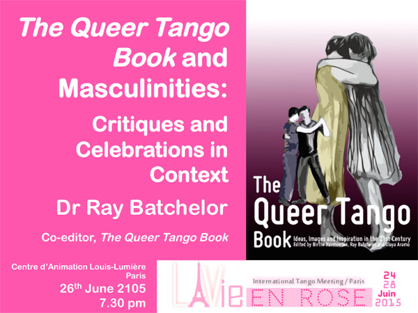 flyer, The Queer Tango Book, Ray's lecture in Paris