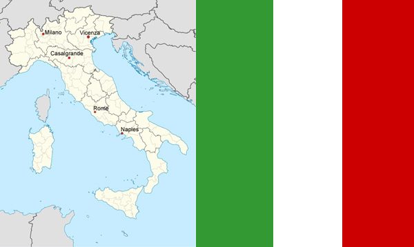 Map of Italy and flag